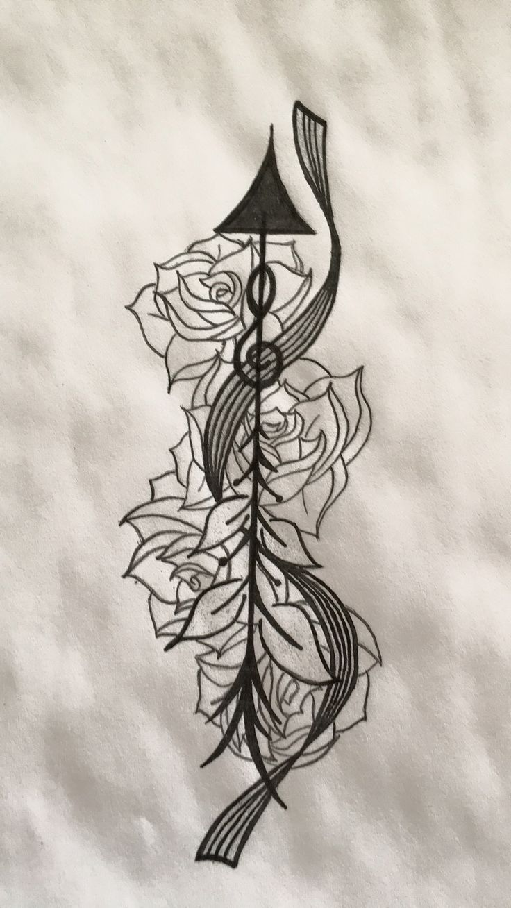 Mu music notes tattoo designs - Arrow Tattoo Design With Blank Music Staff And Roses