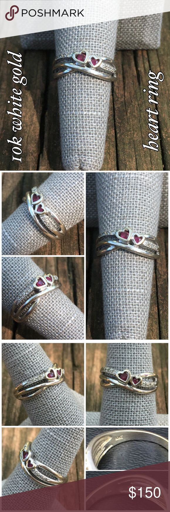 10k White Gold Vtg Ruby w/ Diamond Accents Ring Beautiful 10k Solid White Gold Vintage Ruby & Diamond Accents Hearts Ring. Size 7. Marked 10k FD. The ring is in great vintage condition w/ some surface scratches (that could be buffed out if desired) all co