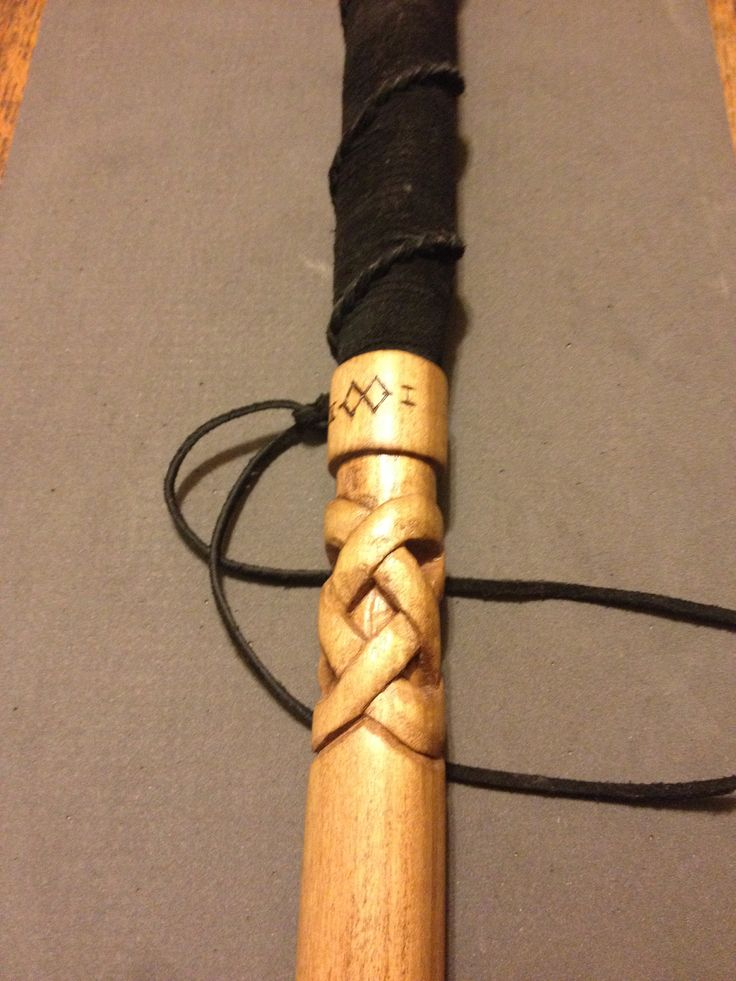 Celtic knot walking stick wood working carving hand
