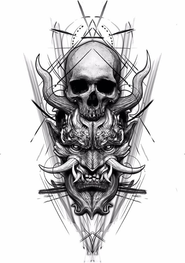 Great Tattoo Idea In 2020 Creepy Tattoos Samurai Tattoo Design Skull Tattoo Design