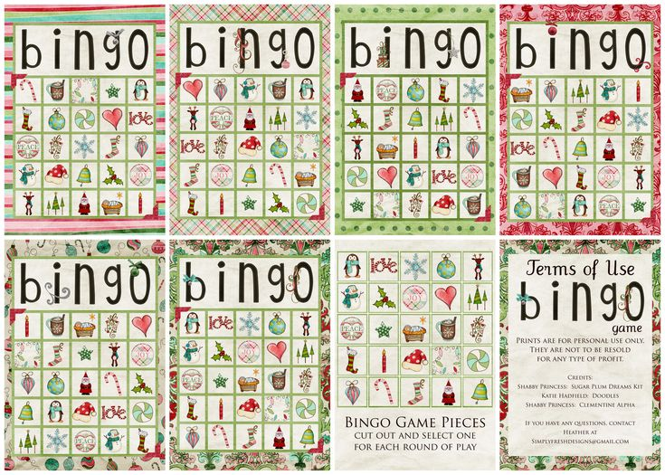 Download:  5×7 Christmas BINGO  (includes 6 .jpg playing boards, 1 .jpg game piece sheet,  plus all 5×7 images formatted in a 8.5×11 pdf document for easy home-printing)