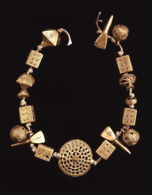 Africa | Collection of beads from the Ashanti people of Ghana | Gold