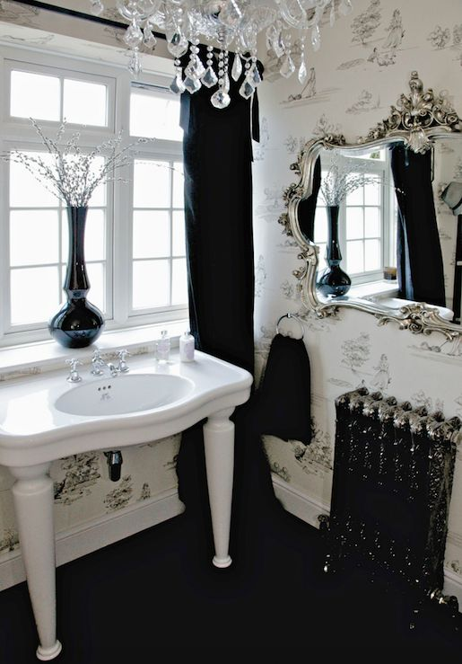 I Absoultely Love This Black And White Bathroom The Chandelier The Sink With The Turned Legs Gilded Silver Mirror And White And Black Toiel Wallpaper