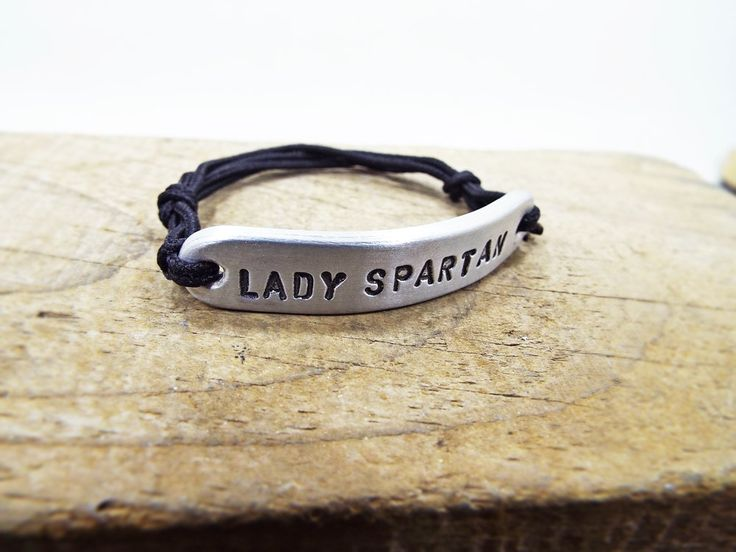 Lady Spartan Bracelet for Women - Aluminum Personalized Hand Stamped Bracelet - Best Gift for Spartan women racers of Spartan Race by Aluminiopassions on Etsy