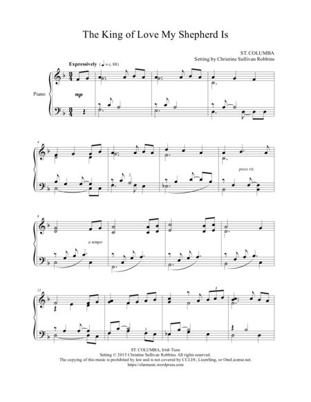 The King Of Love My Shepherd Is This Gentle Piano Sheet Music Arrangement