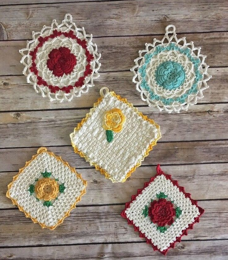 Lot Of 5 Vintage Pot Holders Red Yellow Turquoise Rose Square & Round (BinE) | Collectibles, Linens & Textiles (1930-Now), Kitchen Textiles | eBay!