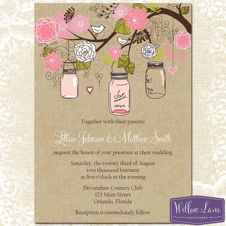 Mason Jar Wedding Invitation Green And By WillowLaneStationery