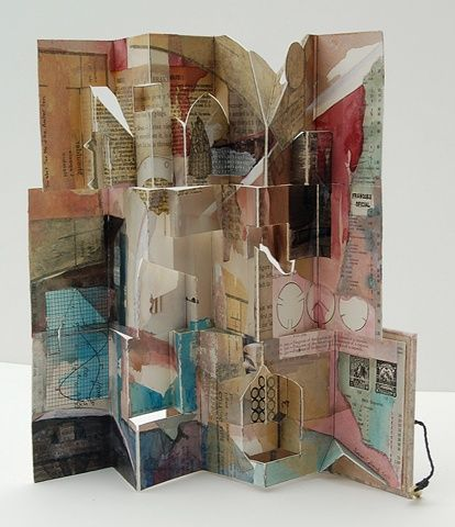 You Won't See Me at the Anchor Inn by Susan Collard, 2010.    Fully open, the book reveals its origins as a 9x12 sheet of watercolor paper--a collage made during a weekend trip to the beach.