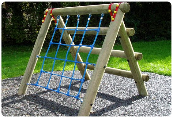 Childrens rope climbing frame playground wooden for Diy play structure