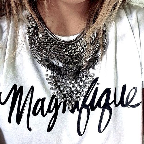 Style a great scripted tee like this one with an over the top statement necklace.