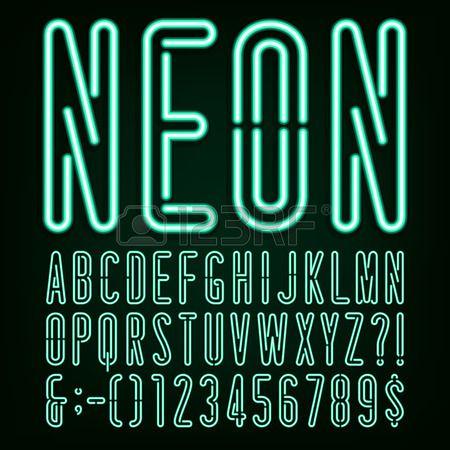 ネオン グリーン光アルファベット ベクター フォントです。幅の狭い文字、数字および句読点。暗い背景にネオン管文字。株式ベクトルを見出し、ポスターなど。