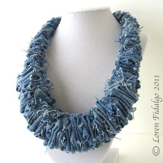 Organic Look Blue Denim Jean Fabric Fiber Necklace
