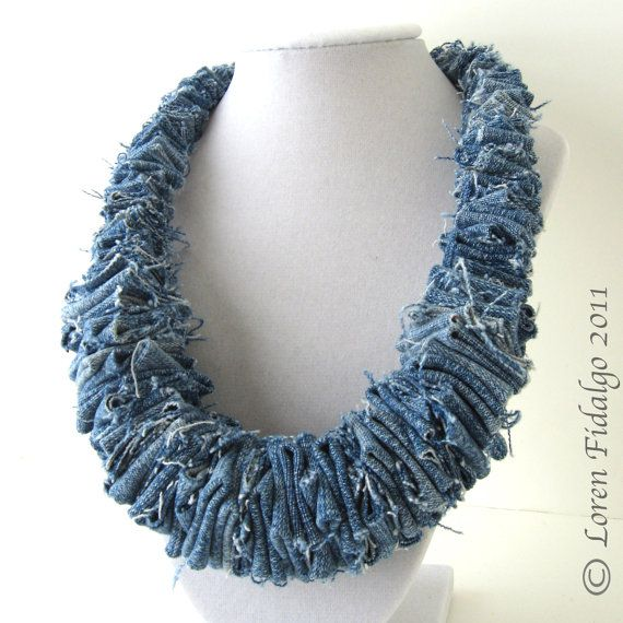 Organic Look Blue Denim Jean Fabric Fiber Necklace