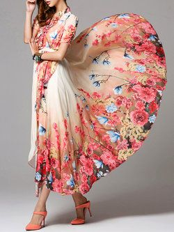 Floral Chiffon Boho Short Sleeve V Neck Maxi Dress