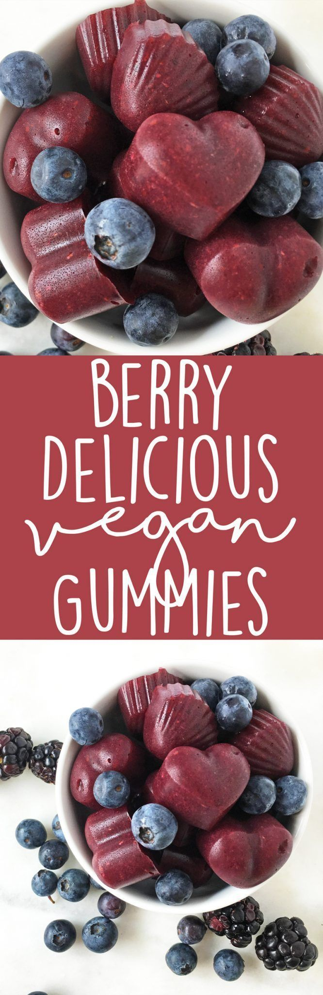 Berry Delicious Vegan Gummies made with agar powder. Healthy snack idea for kids - this recipe calls for the whole fruit, not just sugary fruit juice! | http://thecrunchychronicles.com