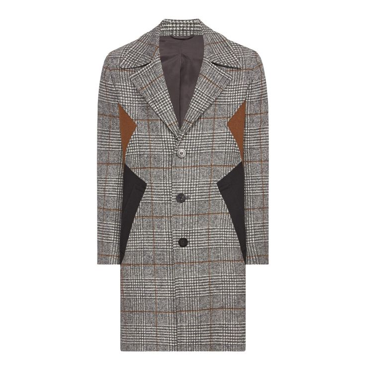 Classic with a contemporary twist, the Check Wool Overcoat from Neil Barrett will look great whether partnered with suiting or casual separates. Italian-made from a wool-blend, the check design is elevated by contrasting black and brown panels at the sides that add a modern update. Cut for a slim fit, the notch lapel and tailored style make it an assuredly smart choice.