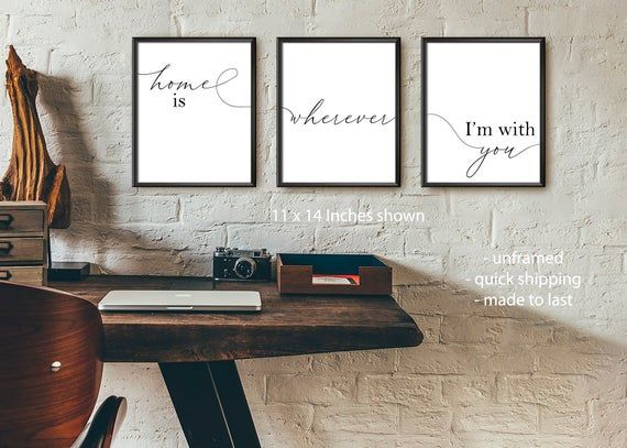Home is Wherever I Am With You 1 Typography Home Decor Wall Art Print UNFRAMED