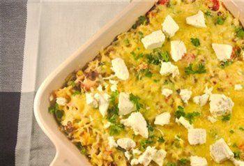 Recept voor Rijstovenschotel met gehakt, prei en paprika ,ui en feta. | Solo Open Kitchen