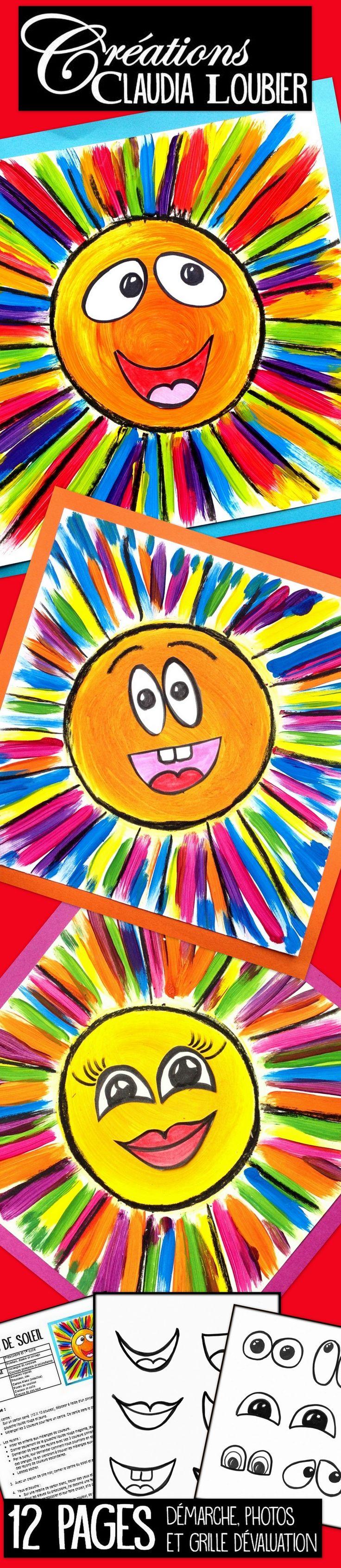 Avec ce projet simple, les enfants apprennent comment créer les couleurs secondaires à partir des couleurs primaires. Pour les élèves du préscolaire et du premier cycle. Vous aurez besoin de gouache liquide, de carton blanc, de crayon de feutre noir. J'ai dessiné des exemples de yeux et de bouches pour les plus petits. Vous pouvez vous en inspirer ou tout simplement les utiliser pour le collage. Mettez du soleil dans votre classe !
