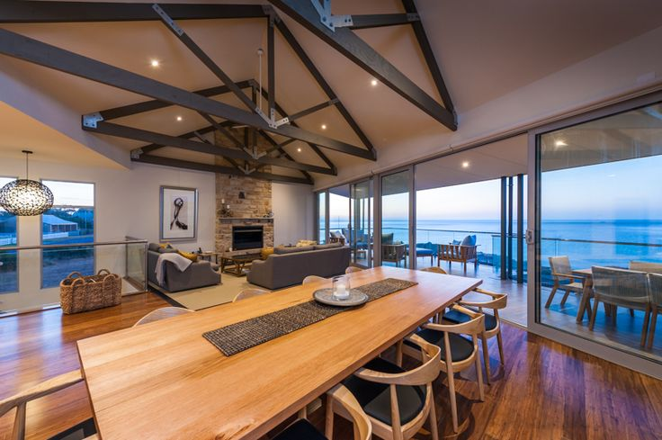 Traditional wood fire place, stone clad, exposed rafters, esplanade location