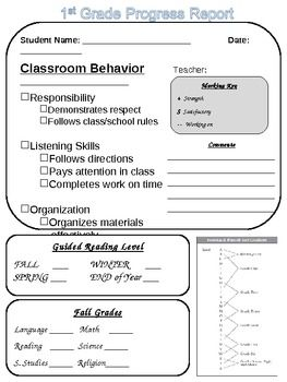 14 best images about progress reports on pinterest math for First grade progress report template