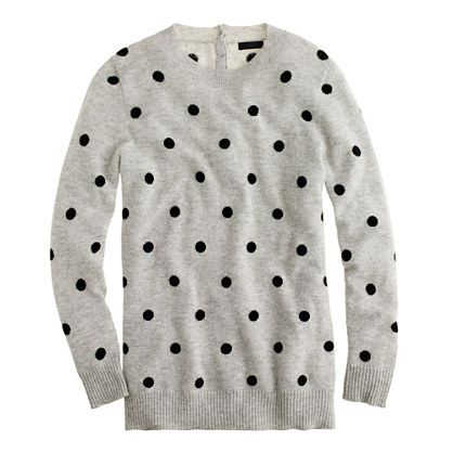 J.Crew Collection Cashmere Polka-Dot Sweater in Dusk Black,  $268.00 item 93473 #jcrew
