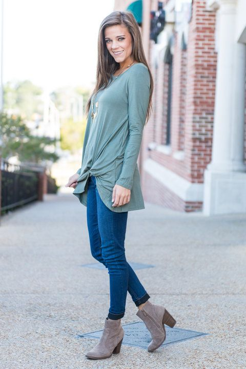 """""""Gather For Brunch Top, Olive"""" We are so infatuate with this casual, comfy top! The twisted little detail is all this top needed!  #newarrivals #shopthemint"""