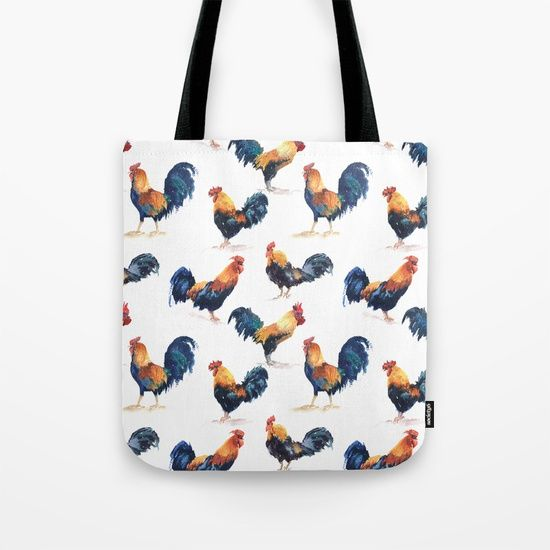 Seamless pattern watercolor roosters Tote Bag $20.00