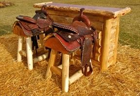 White and Red Cedar Bar and Two Western Saddle Bar Stool Set