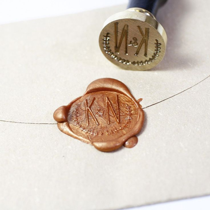 Custom Wax seal stamp, Olive branch wreath Initial                                                                                                                                                                                 More