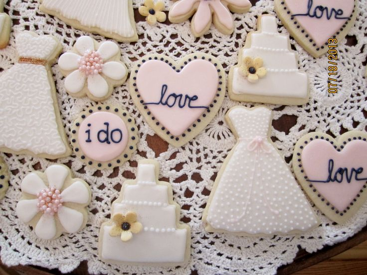 Bridal Shower Cookies Ivory Blush Navy And Metallic Gold