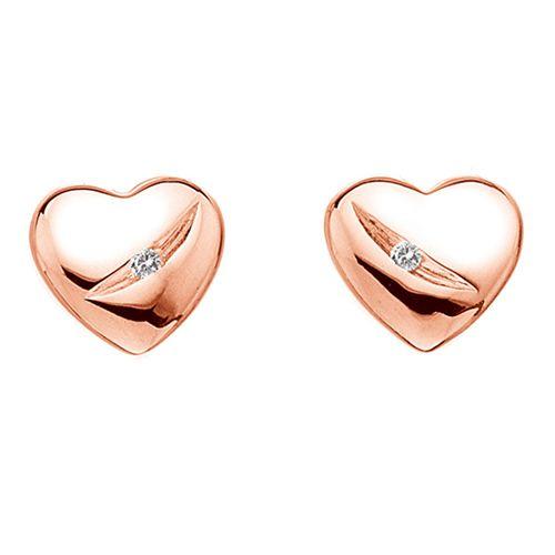 Stříbrné náušnice Hot Diamonds Shooting Stars Heart Rose Gold