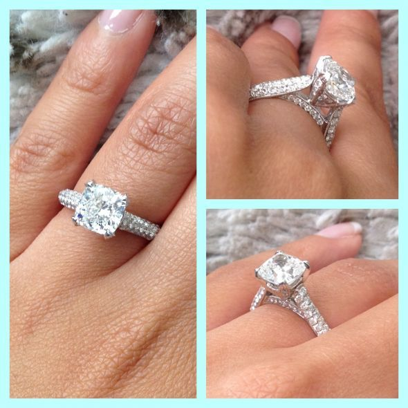 2 carat cushion cut, micro pave engagement ring! YES PLEASE!