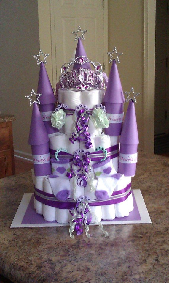 Princess Castle Diaper Cake by CharmingDiaperCakes on Etsy, $70.00