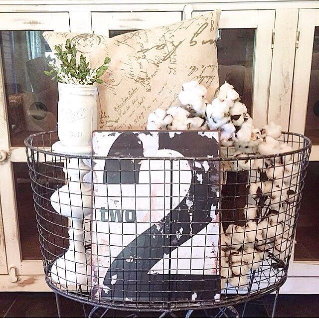 So many creative & stylish uses for our Rolling Laundry Basket! Thanks for sharing yours, Cindy. It's is so lovely!  #homedecor #decoratingideas