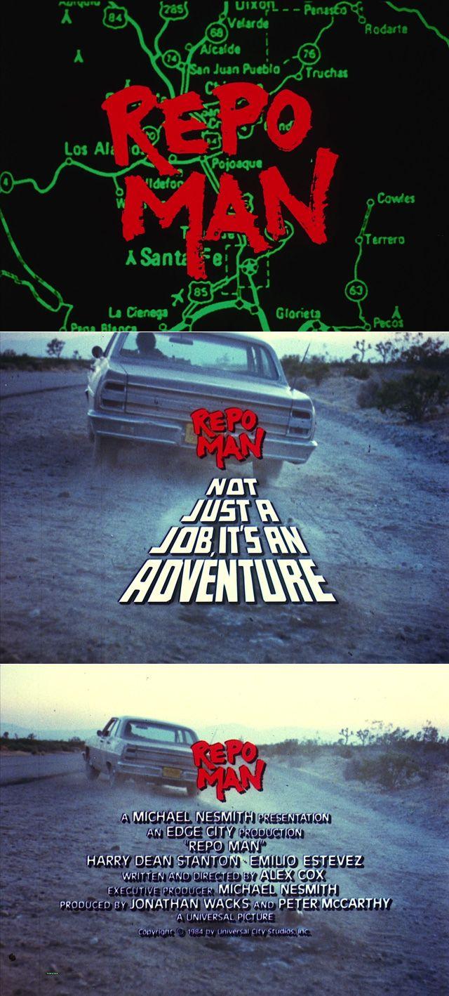 Repo Man (1984) trailer typography