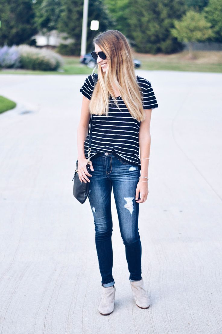 Striped Tee - Nordstrom Sale Outfit by Illinois fashion blogger Kristi of The Coral Court