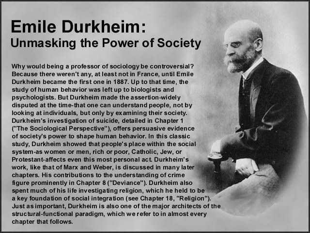 Emile Durkheim [follow this link to find a bundle of clips and an analysis, which takes up Durkheim's classic approach to suicide]