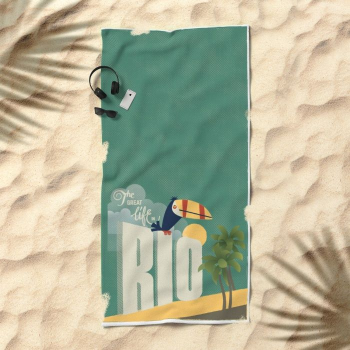Handlettering - The Great Life in Rio Hand & Bath Towel - just finished this lettering piece - available at Society6 - great as a gift for travel nerds, too #travel #vintagetravel #vintagetravelposter #vintagetravelart #towel #traveltowel #beachtowel #kidstowel #midcentury #midcenturyart #midcenturyillustration