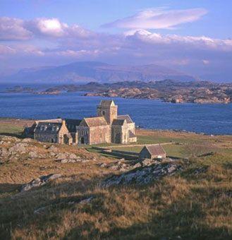 View over Iona Abbey, the sacred island of Iona, Scotland