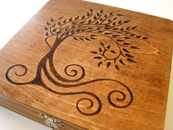 Spirit Tree Pyrography Box. via Etsy.