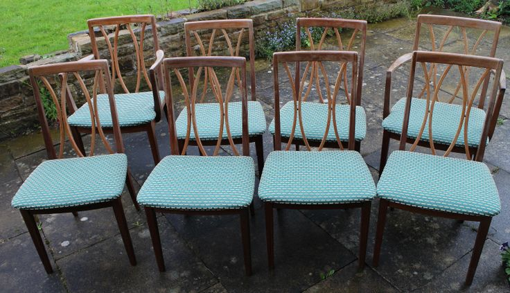 Set of Eight Retro G Plan Dining Chairs in Rosewood with Upholstered Seats