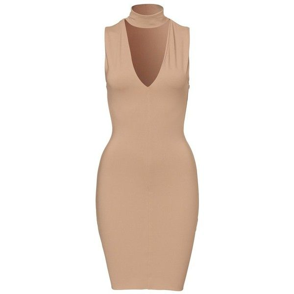 Queens Mini Dress ❤ liked on Polyvore featuring dresses, form fitting dresses, short dresses, mini dress, beige short dress and figure hugging dress