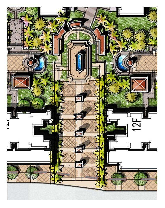 Gate Entrance Landscape Residential Gateway Light Column Welcome F Landscape Architecture Plan Landscape Architecture Design Landscape Architecture Drawing