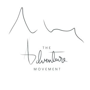 Modern, minimalist, simple logo graphic design for The Adventure Movement, traveling and outdoor exploration blog. Hand calligraphy and modern font. Outdoor adventure logo design inspiration.