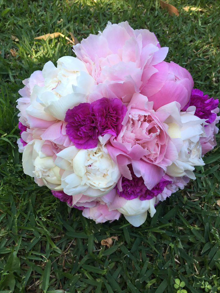 Peonies in shades of pink wedding bouquet @weddingflowersetc