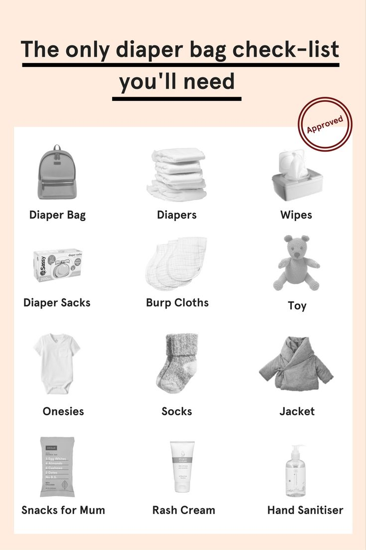 Packing a diaper bag is serious business. Here's a list of all things you'll need to be place in your changing bag: diapers, wipes, diaper sacks, burp cloths, toy, baby onesies, baby socks, jacket, diaper rash cream, hand sanitiser.