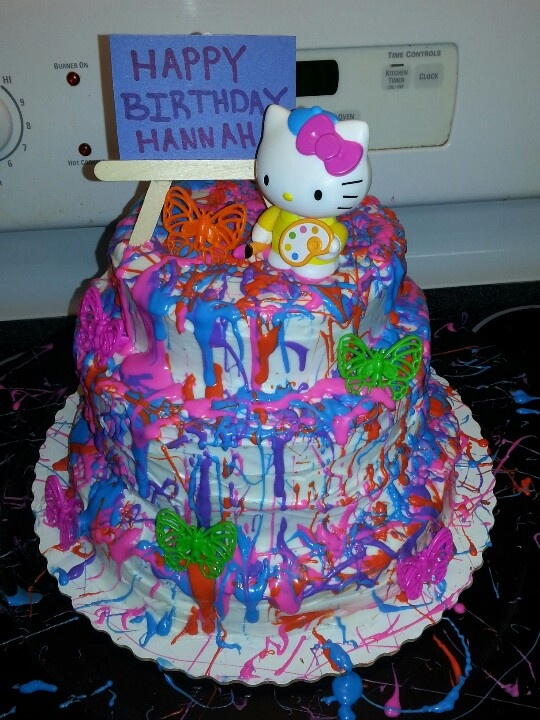 Paint splatter Hello kitty Cake. I use wilton frosting.  For the paint look water down frosting to paint consistency. And splatter it on with spoon or knife for the drizzle effect. For the colors I use Wiltons color pigments. Make cake as directed on box.