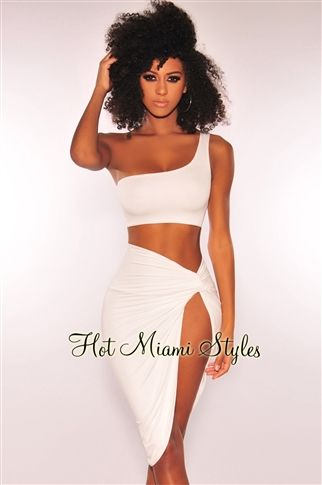 6efcc6f7516 White One Shoulder Knotted Slit Two Piece Set in 2019 | HOT MIAMI ...