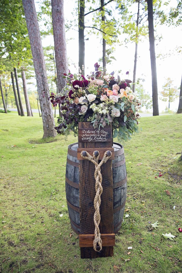 Ecclesiastes bible verse outdoor wedding ceremony decor with barrel